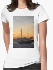 Indian Ocean sunset with yacht Womens Fitted T-Shirt