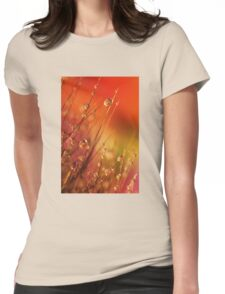 Water Drops on Blades of Grass Colorful Nature Womens Fitted T-Shirt