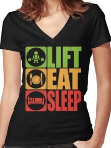 LIFT, EAT, SLEEP Women's Fitted V-Neck T-Shirt