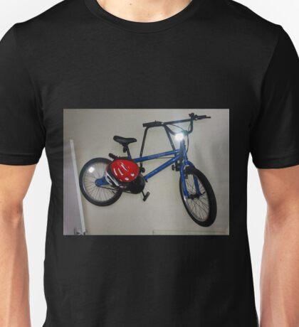 Blue Bike Red Helmet Unisex T-Shirt