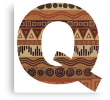 Letter Q Leather Look Pattern Tribal Ethnic Monogram Initial Canvas Print