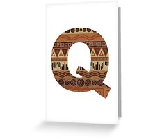 Letter Q Leather Look Pattern Tribal Ethnic Monogram Initial Greeting Card
