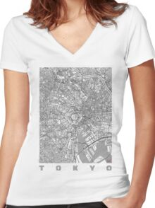 Tokyo Map Line Women's Fitted V-Neck T-Shirt