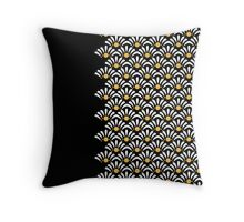 Daisy Pattern on Black Pillow Throw Pillow