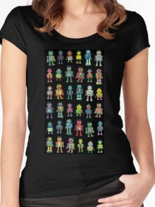 Robot Line-up on Black Women's Fitted Scoop T-Shirt