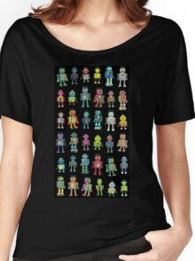 Robot Line-up on Black Women's Relaxed Fit T-Shirt