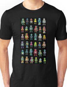 Robot Line-up on Black Unisex T-Shirt