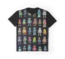 Robot Line-up on Black Graphic T-Shirt