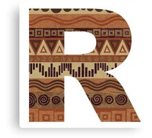 Letter R Leather Look Pattern Tribal Ethnic Monogram Initial Canvas Print