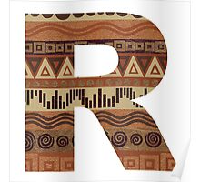 Letter R Leather Look Pattern Tribal Ethnic Monogram Initial Poster