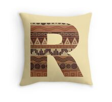 Letter R Leather Look Pattern Tribal Ethnic Monogram Initial Throw Pillow