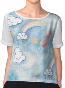 Watercolor Kawaii Clouds Chiffon Top