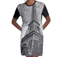 Eiffel Black and white Graphic T-Shirt Dress