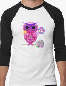 Cute Lollipop Owl Men's Baseball ¾ T-Shirt