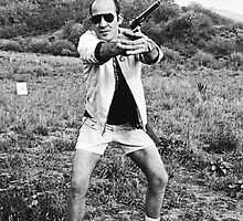 Hunter Thompson with a gun by FrenchBanana