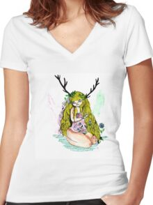 The lady and the flower in the wood of imagination Women's Fitted V-Neck T-Shirt