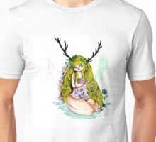 The lady and the flower in the wood of imagination Unisex T-Shirt