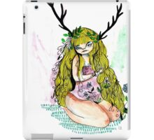 The lady and the flower in the wood of imagination iPad Case/Skin