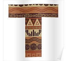 Letter T Leather Look Pattern Tribal Ethnic Monogram Initial Poster