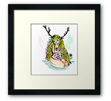 The lady and the flower in the wood of imagination Framed Print