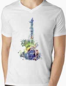 Electric guitar watercolor blue yellow Mens V-Neck T-Shirt
