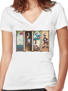 Avengers Stretching Portraits Women's Fitted V-Neck T-Shirt