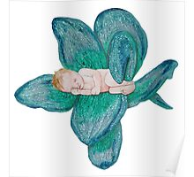 Baby sleeping in flower Poster