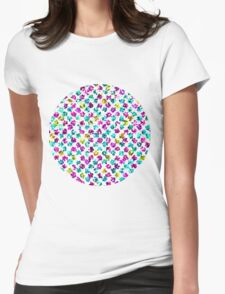 Abstract Floral Spots Womens Fitted T-Shirt