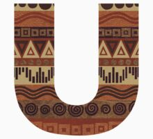 Letter U Leather Look Pattern Tribal Ethnic Monogram Initial Kids Tee