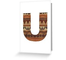 Letter U Leather Look Pattern Tribal Ethnic Monogram Initial Greeting Card