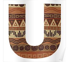 Letter U Leather Look Pattern Tribal Ethnic Monogram Initial Poster