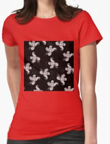 Black and White Flower Tile Womens Fitted T-Shirt