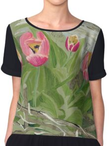 Backyard Tulips Chiffon Top