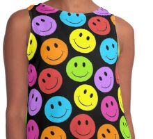 Happy Colorful Smiley Faces Pattern Contrast Tank