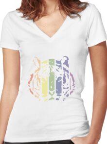 Tiger Color Stripes Women's Fitted V-Neck T-Shirt