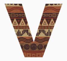 Letter V Leather Look Pattern Tribal Ethnic Monogram Initial Kids Tee