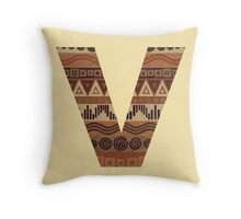Letter V Leather Look Pattern Tribal Ethnic Monogram Initial Throw Pillow
