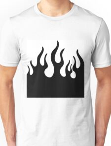 Black and white flames Unisex T-Shirt