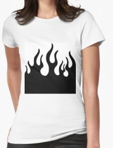 Black and white flames Womens Fitted T-Shirt