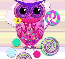 Candy Owl sitting on a Lollipop by walstraasart