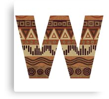 Letter W Leather Look Pattern Tribal Ethnic Monogram Initial Canvas Print