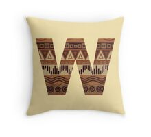 Letter W Leather Look Pattern Tribal Ethnic Monogram Initial Throw Pillow