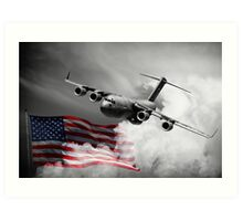 USA Flag in Color & Airforce Art Print