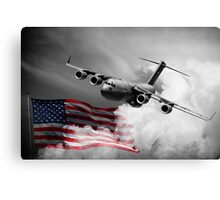 USA Flag in Color & Airforce Canvas Print