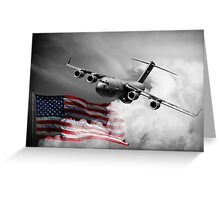 USA Flag in Color & Airforce Greeting Card
