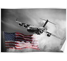USA Flag in Color & Airforce Poster