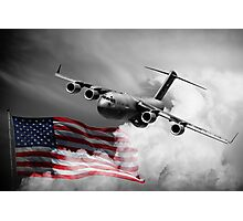 USA Flag in Color & Airforce Photographic Print