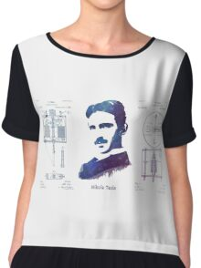 Nikola Tesla Patent Art Electric Arc Lamp Chiffon Top