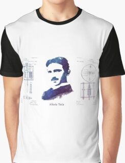 Nikola Tesla Patent Art Electric Arc Lamp Graphic T-Shirt