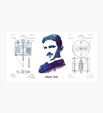 Nikola Tesla Patent Art Electric Arc Lamp Photographic Print
